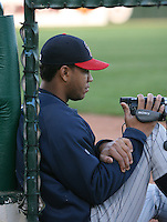 2007:  Yorman Bazardo of the Toledo Mudhens videos the game vs. the Rochester Red Wings in International League baseball action.  Photo By Mike Janes/Four Seam Images