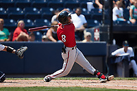 Jecksson Flores (8) of the Rochester Red Wings follows through on his swing against the Scranton/Wilkes-Barre RailRiders at PNC Field on July 25, 2021 in Moosic, Pennsylvania. (Brian Westerholt/Four Seam Images)