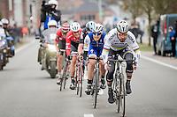 Peter Sagan (SVK/Bora-Hansgrohe) leading the impressive breakaway group comprising Matteo Trentin (ITA/QuickStep), Luke Rowe (GBR/SKY), Jasper Stuyven (BEL/Trek-Segafredo) & Tiesj Benoot (BEL/Lotto-Soudal)<br /> <br /> 69th Kuurne-Brussel-Kuurne 2017 (1.HC)