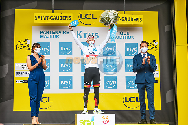 Race leader Tadej Pogacar (SLO) UAE Team Emirates also retains the young riders White Jersey at the end of Stage 16 of the 2021 Tour de France, running 169km from Pas de la Case to Saint-Gaudens, Andorra. 13th July 2021.   <br /> Picture: A.S.O./Charly Lopez   Cyclefile<br /> <br /> All photos usage must carry mandatory copyright credit (© Cyclefile   A.S.O./Charly Lopez)