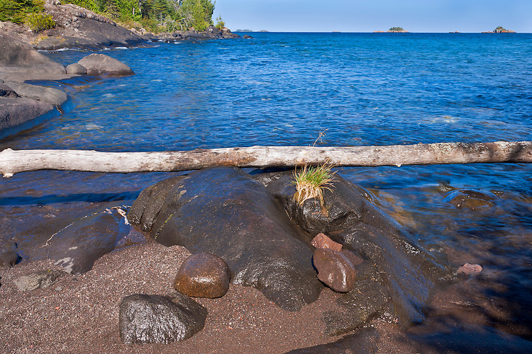Afternoon light on the shore of Lake Superior in Rock Harbor; Isle Royale National Park, MI