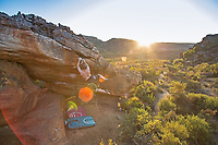 Ned Feehally on the the final move of 'Sky' 8B in Rocklands, South Africa