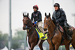 APRIL 28, 2014: Wicked Strong (left), trained by Jimmy Jerkens, exercises in preparation for the Kentucky Derby at Churchill Downs in Louisville, KY. Jon Durr/ESW/CSM