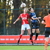 Standard's Ellen Charlier pictured in a fight for the ball Charlotte Laridon (15 Brugge) during a female soccer game between Standard Femina de Liege and Club Brugge YLA on the seventh matchday of the 2020 - 2021 season of Belgian Scooore Womens Super League , saturday 14 th of November 2020  in Angleur , Belgium . PHOTO SPORTPIX.BE | SPP | DAVID CATRY