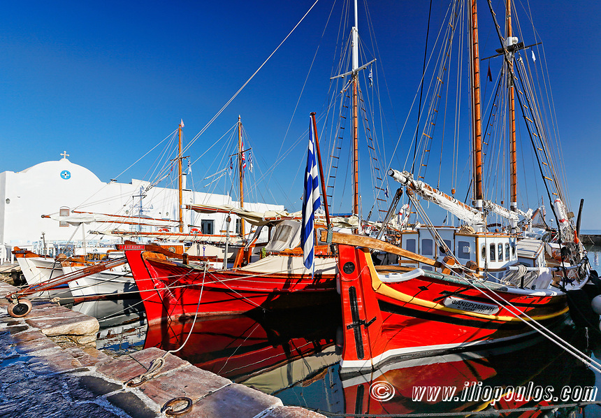 Boats at the port of Naousa in Paros island, Greece