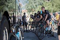 Ian Boswell (USA/SKY) & teammates warming up ahead of the race<br /> <br /> 69th Critérium du Dauphiné 2017<br /> Stage 8: Albertville > Plateau de Solaison (115km)