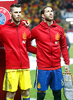 Spain's David De Gea (l) and Sergio Ramos during FIFA World Cup 2018 Qualifying Round match. March 24,2017.(ALTERPHOTOS/Acero) /NortePhoto.com