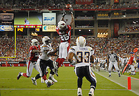 Aug 25, 2007; Glendale, AZ, USA; Arizona Cardinals cornerback Eric Green (25) attempts to intercept a San Diego Chargers pass in the second quarter at University of Phoenix Stadium. Green was ruled out of bounds on the play. Mandatory Credit: Mark J. Rebilas-US PRESSWIRE Copyright © 2007 Mark J. Rebilas