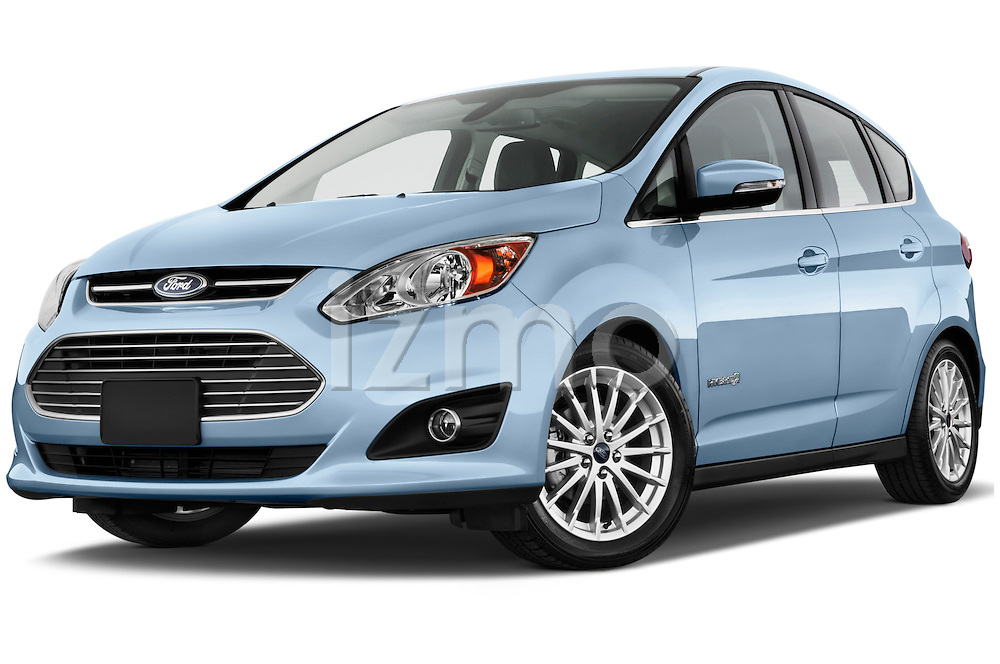 Low aggressive front three quarter view of 2013 Ford C Max Hybrid SEL Stock Photo