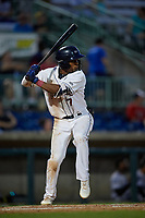 Mahoning Valley Scrappers Korey Holland (7) at bat during a NY-Penn League game against the Hudson Valley Renegades on July 15, 2019 at Eastwood Field in Niles, Ohio.  Mahoning Valley defeated Hudson Valley 6-5.  (Mike Janes/Four Seam Images)