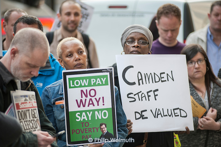 Care home workers and other council staff join a Unison protest outside Camden Town Hall over service cuts and low pay.