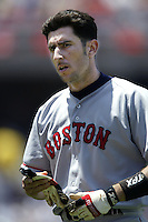 Nomar Garciaparra of the Boston Red Sox during a 2002 MLB season game against the Los Angeles Dodgers at Dodger Stadium, in Los Angeles, California. (Larry Goren/Four Seam Images)