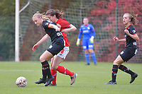 midfielder Lotte De Wilde (19 Zulte-Waregem) and forward Sanne Schoenmakers (8 Standard) pictured during a female soccer game between Standard Femina de Liege and Dames SV Zulte Waregem on the fifth matchday of the 2020 - 2021 season of Belgian Scooore Womens Super League , saturday 17 th of October 2020  in Angleur , Belgium . PHOTO SPORTPIX.BE | SPP | STIJN AUDOOREN