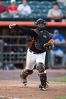 Aberdeen IronBirds catcher Jean Carrillo (51) makes a throw to first base against the Hudson Valley Renegades at Leidos Field at Ripken Stadium on July 27, 2017 in Aberdeen, Maryland.  The Renegades defeated the IronBirds 2-0 in game one of a double-header.  (Brian Westerholt/Four Seam Images)