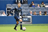KANSAS CITY, KS - MAY 16: Ilie Sanchez #6 Sporting KC with the ball during a game between Vancouver Whitecaps and Sporting Kansas City at Children's Mercy Park on May 16, 2021 in Kansas City, Kansas.