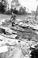 FILE PHOTO  - The aftermath of the tornado that hit the Saint-Bonaventure village on July 24, 1975 <br /> <br /> A strong tornado hits Saint-Bonaventure, Quebec destroying 100 homes and businesses, including the water tower. A woman and her 2 children were killed, and over 40 people were hospitalized.<br /> <br /> PHOTO : Alain Renaud - Agence Quebec Presse