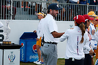 5th September 2021; Toledo, Ohio, USA;  Danielle Kang of Team USA talks to Bubba Watson at the first tee during the morning Four-Ball competition during the Solheim Cup on September 5th