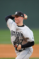 Starting pitcher Eric Birklund (17) of the USC Upstate Spartans delivers in a game against the Furman University Paladins on Tuesday, March 4, 2013, at Fluor Field at the West End in Greenville, South Carolina. Furman won, 13-1. (Tom Priddy/Four Seam Images)