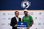 Anirban Lahiri of India is presented with a prize during the Venetian Macao Open 2016 at the Macau Golf and Country Club on 16 October 2016 in Macau, China. Photo by Marcio Machado / Power Sport Images