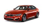 2018 BMW M3 4 Door Sedan Angular Front stock photos of front three quarter view