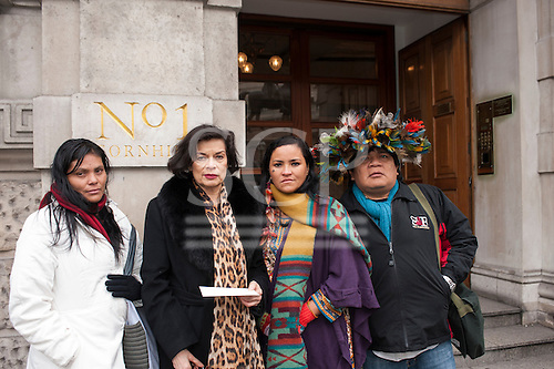 London, England. Ruth Buendia Mestoquiari Ashaninka, Bianca Jagger, Sheyla Yakarepi Juruna and Chief Almir Narayamoga Surui outside the offices of the Brazilian development bank BNDES during their visit to London to highlight the impact of hydroelectric dams proposed for the rivers of the Amazon basin, 02/03/2011.