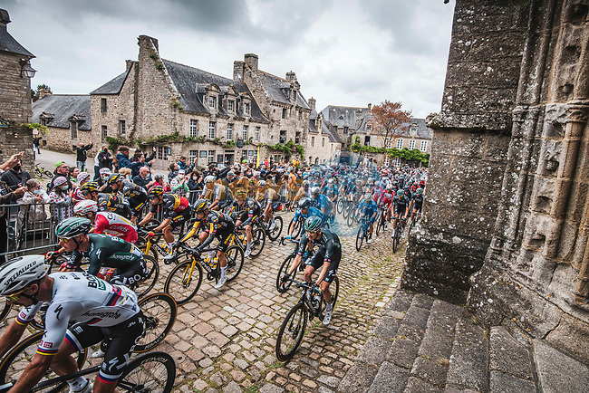 The peloton including Slovak Champion Peter Sagan (SVK Bora-Hansgrohe and Belgian Champion Wout Van Aert (BEL) and Primox Roglic (SLO) Jumbo-Visma during Stage 1 of the 2021 Tour de France, running 197.8km from Brest to Landerneau, France. 26th June 2021.  <br /> Picture: A.S.O./Charly Lopez | Cyclefile<br /> <br /> All photos usage must carry mandatory copyright credit (© Cyclefile | A.S.O./Charly Lopez)