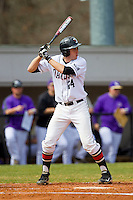 Andrew Barna (24) of the Davidson Wildcats at bat against the Western Carolina Catamounts at Wilson Field on March 10, 2013 in Davidson, North Carolina.  The Catamounts defeated the Wildcats 5-2.  (Brian Westerholt/Four Seam Images)