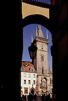 Entrance to old town plaza is called Melantrichova Passage. Framed in the opening is Old Town Hall (1364), Prague, Czech Republic
