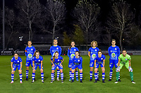 Team picture KAA Gent ( defender Silke Vanwynsberghe (21) , forward Lobke Loonen (19) , defender Fran Meersman (5) , midfielder Fleur Van Daele (8) , defender Heleen Jacques (4) and defender Rkia Mazrouai (2) , forward Jasmien Mathys (12) , defender Lindsey Van Belle (14) , midfielder Emma Van Britsom (6) , midfielder Chloe Vande Velde (10) , goalkeeper Nicky Evrard (1) ) during a female soccer game between  AA Gent Ladies and Standard Femina de Liege on the 8 th matchday of the 2020 - 2021 season of Belgian Scooore Womens Super League , friday 20 th of November 2020  in Oostakker , Belgium . PHOTO SPORTPIX.BE | SPP | STIJN AUDOOREN