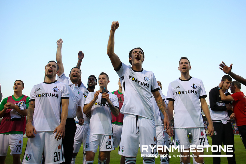 Legia Warsaw players celebrate in front of the traveling fans at the end of the UEFA Champions League First Qualifying Round First Leg between Cork City and Legia Warsaw on Tuesday 10th July 2018 at Turners Cross, Cork. Photo By Michael P Ryan