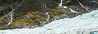 Waterfalls after rain on Fox Glacier, Westland Tai Poutini National Park, UNESCO World Heritage Area, South Westland, New Zealand, NZ