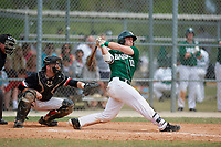 Babson Beavers catcher Sean Harrington (10) hits a grand slam home run during a game against the Edgewood Eagles on March 18, 2019 at Lee County Player Development Complex in Fort Myers, Florida.  Babson defeated Edgewood 23-7.  (Mike Janes/Four Seam Images)