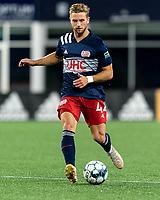 FOXBOROUGH, MA - SEPTEMBER 5: Pierre Cayet #44 of New England Revolution II passes the ball during a game between Tormenta FC and New England Revolution II at Gillette Stadium on September 5, 2021 in Foxborough, Massachusetts.