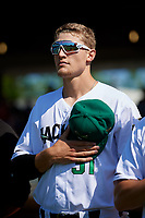 Augusta GreenJackets Preston White (31) during the national anthem before a South Atlantic League game against the Lexington Legends on April 30, 2019 at SRP Park in Augusta, Georgia.  Augusta defeated Lexington 5-1.  (Mike Janes/Four Seam Images)