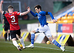 St Johnstone v Clyde…17.04.21   McDiarmid Park   Scottish Cup<br />Scott Tanser takes on Declan Butterworth<br />Picture by Graeme Hart.<br />Copyright Perthshire Picture Agency<br />Tel: 01738 623350  Mobile: 07990 594431