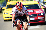 Latvian Champion Toms Skujins (LAT) Trek-Segafredo attacks from the breakaway during Stage 5 of the 2019 Tour de France running 175.5km from Saint-Die-des-Vosges to Colmar, France. 10th July 2019.<br /> Picture: ASO/Alex Broadway | Cyclefile<br /> All photos usage must carry mandatory copyright credit (© Cyclefile | ASO/Alex Broadway)