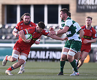 20th February 2021; Trailfinders Sports Club, London, England; Trailfinders Challenge Cup Rugby, Ealing Trailfinders versus Doncaster Knights; Jerry Sexton of Doncaster Knights hands off Rayn Smid of Ealing Trailfinders