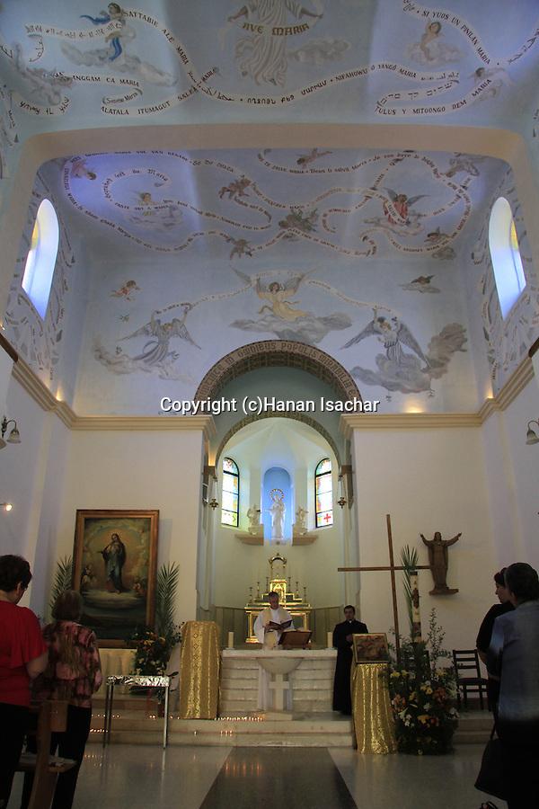 Israel, Shephelah, Deir Rafat Monastery, built in 1927, Mass at the Church