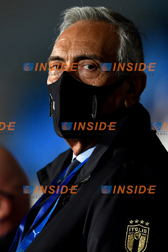 Itelian football federation president Gabriele Gravina, wearing a mask, attends from the tribune the friendly football match between Italy and Estonia at Artemio Franchi Stadium in Firenze (Italy), November, 11th 2020. Photo Andrea Staccioli/ Insidefoto