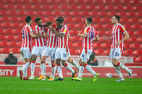 21st November 2020; Bet365 Stadium, Stoke, Staffordshire, England; English Football League Championship Football, Stoke City versus Huddersfield Town; The players celebrate the fourth goal for Stoke by Sam Clucas in the 57th minute for 4-2