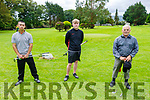 Taking part in the Kerry Mens Pitch & Putt Strokeplay Championships tt the Tralee Pitch and Putt on Sunday. L to r: Paul O'Shea (Tralee), Jack O'Sullivan (Deerpark) and Jerry Lee (Castleisland).