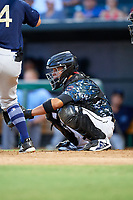 Jacksonville Jumbo Shrimp catcher Rodrigo Vigil (6) waits to receive a pitch during a game against the Mobile BayBears on April 14, 2018 at Baseball Grounds of Jacksonville in Jacksonville, Florida.  Mobile defeated Jacksonville 13-3.  (Mike Janes/Four Seam Images)