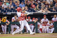 Louisville Cardinals designated hitter Danny Oriente (9) swings the bat during Game 10 of the NCAA College World Series against the Mississippi State Bulldogs on June 20, 2019 at TD Ameritrade Park in Omaha, Nebraska. Louisville defeated Mississippi State 4-3. (Andrew Woolley/Four Seam Images)