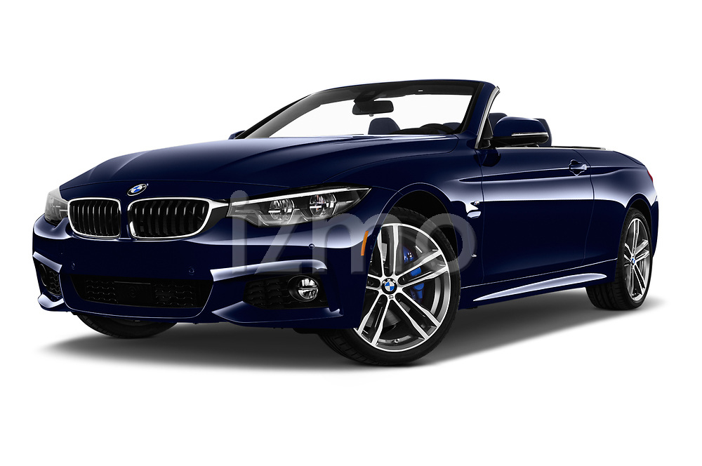 Stock pictures of low aggressive front three quarter view of a 2018 BMW 4 Series 430i M Sport 2 Door Convertible