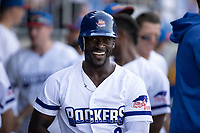 Jared Mitchell (3) of the High Point Rockers is all smiles after hitting a home run against the Southern Maryland Blue Crabs at Truist Point on June 18, 2021, in High Point, North Carolina. (Brian Westerholt/Four Seam Images)