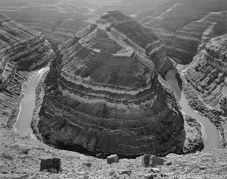 """""""Gooseneck of the San Juan"""" <br /> Gooseneck State Park, Utah <br /> <br /> Goosenecks State Park is located in Utah a short 1.5 hour drive north of the Monument Valley Tribal Park. The San Juan River eroded the earth during 300 million years to provide a spectacular view of the river 1,000 feet below. This photo shows one of the goosenecks that is visible from the parking lot overlook."""