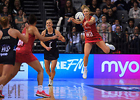 England's Jade Clarke tries to keep the ball in during the Cadbury Netball Series Taini Jamison Trophy match between New Zealand Silver Ferns and England Roses at Claudelands Arena in Hamilton, New Zealand on Wednesday, 28 October 2020. Photo: Dave Lintott / lintottphoto.co.nz