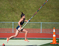Imogen Ayris competes in the women's elite pole vault. 2021 Capital Classic athletics at Newtown Park in Wellington, New Zealand on Saturday, 20 February 2021. Photo: Dave Lintott / lintottphoto.co.nz