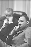 File Photo - Martin Luther King (L) and US President Lyndon B Johnson (R) meet March 28, 1966.