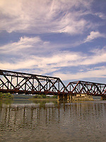 Railroad overpass over river<br />
